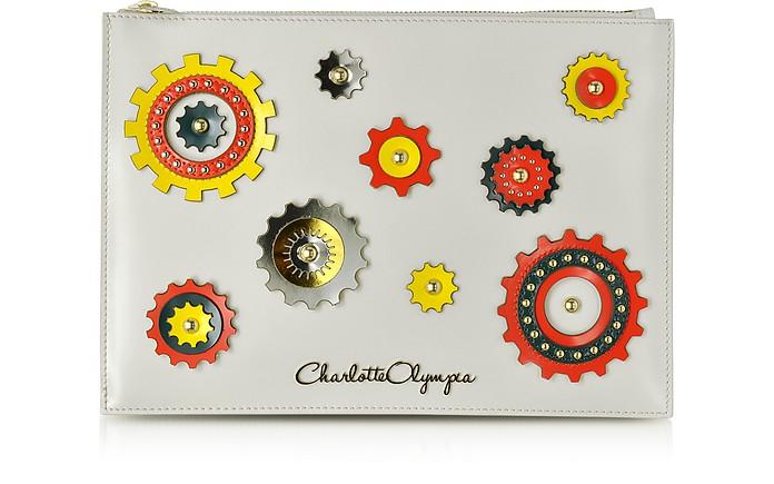 Factory - Pochette en Cuir Blanc Cassé avec Motif Coloré - Charlotte Olympia