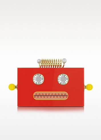 Roby Primary Red Perspex Clutch Box - Charlotte Olympia