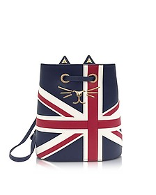 Feline Navy, Red & Off White Grained Leather Bucket Bag - Charlotte Olympia