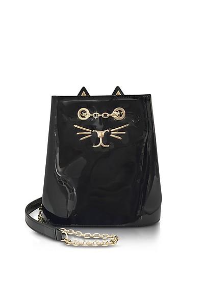 Feline Black Patent Leather Bucket Bag - Charlotte Olympia