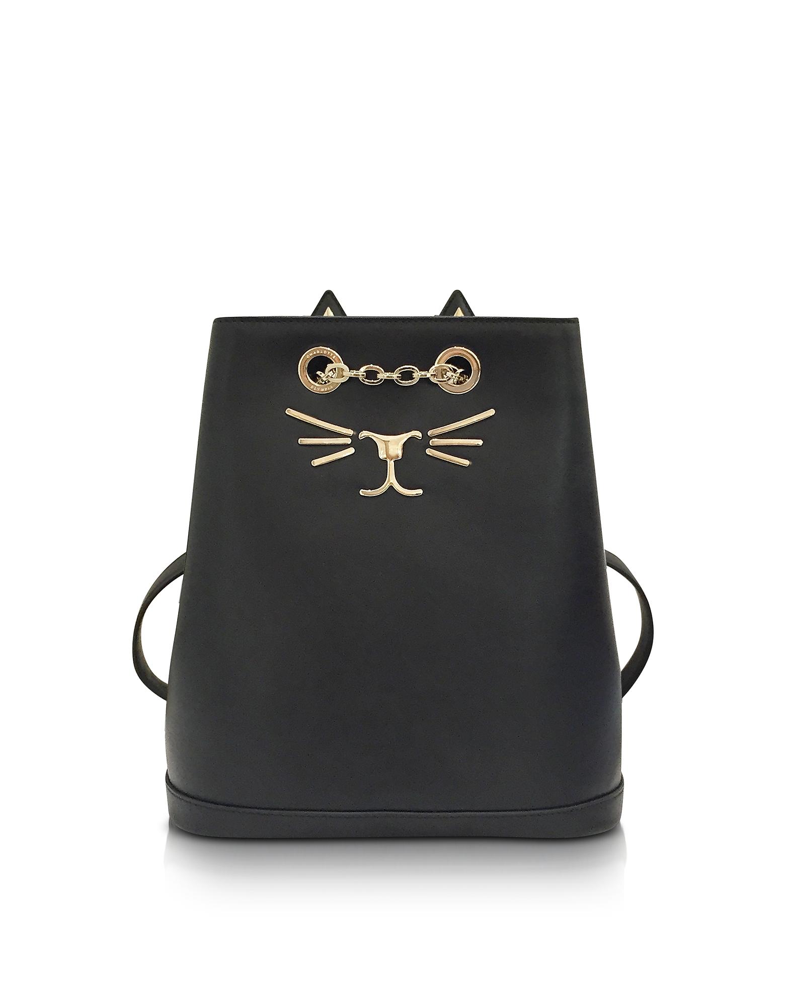 Фото Feline - Маленький Черный Кожаный Рюкзак. Купить с доставкой