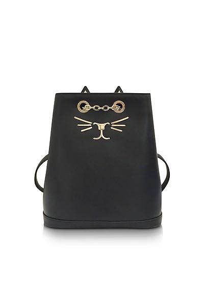 Feline Black Leather Petit Backpack - Charlotte Olympia