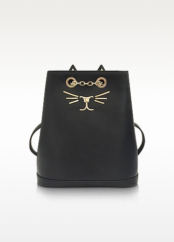 Feline Black Leather Petit Backpack - Charlotte Olympia