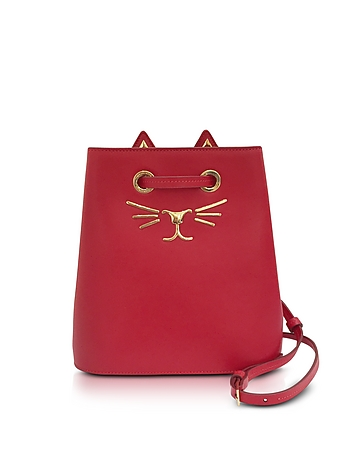Charlotte Olympia - Feline Red Leather Bucket Bag