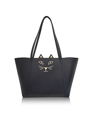 Charlotte Olympia - Mini Feline Black Embossed Leather Shopper