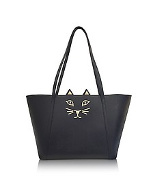 Mini Feline Black Embossed Leather Shopper - Charlotte Olympia