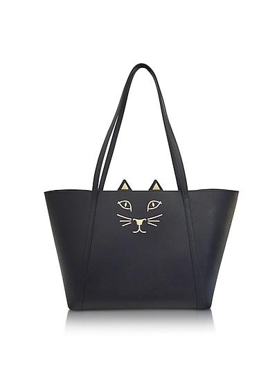 Mini Feline Black Embossed Leather Shopper - Charlotte Olympia