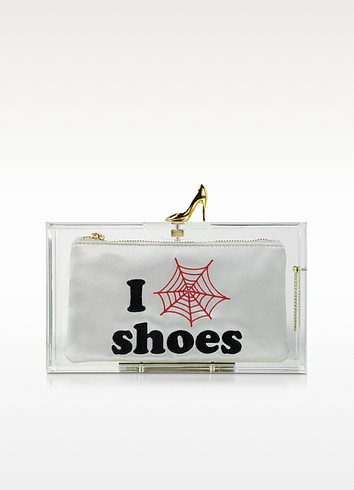 Clear Pandora Loves Shoes Clutch Box w/Shoe Clasp - Charlotte Olympia