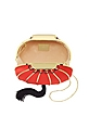 Chinese Red Spherical Lantern Bag with Tassel & Chain - Charlotte Olympia