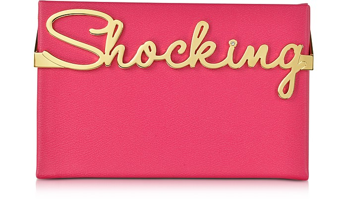 Vanina Shocking Pink Leather Mini Clutch Box - Charlotte Olympia