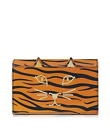 Feline Orange Tiger Print Leather Purse - Charlotte Olympia