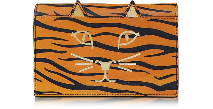 Feline Orange Tiger Print Leather Purse - Charlotte Olympia