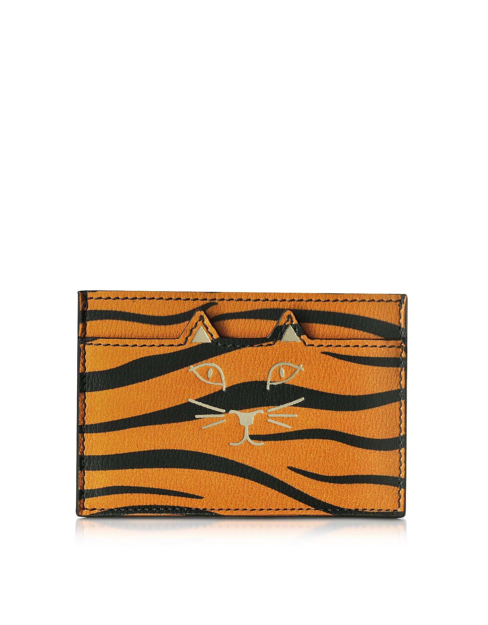 Feline - Оранжевый Кожаный Бумажник для Карточек с Тигровым Принтом
