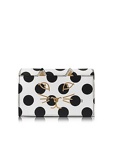 White Polka Dot Print Leather Feline Purse - Charlotte Olympia