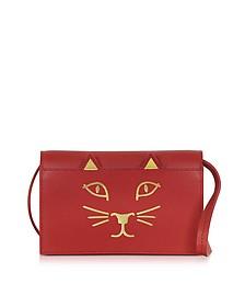 Feline Grained Leather Purse w/Shoulder Strap - Charlotte Olympia
