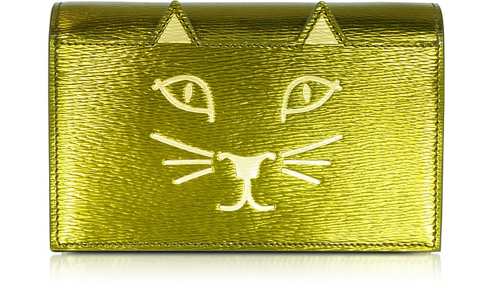 Feline Metallic Leather Purse - Charlotte Olympia
