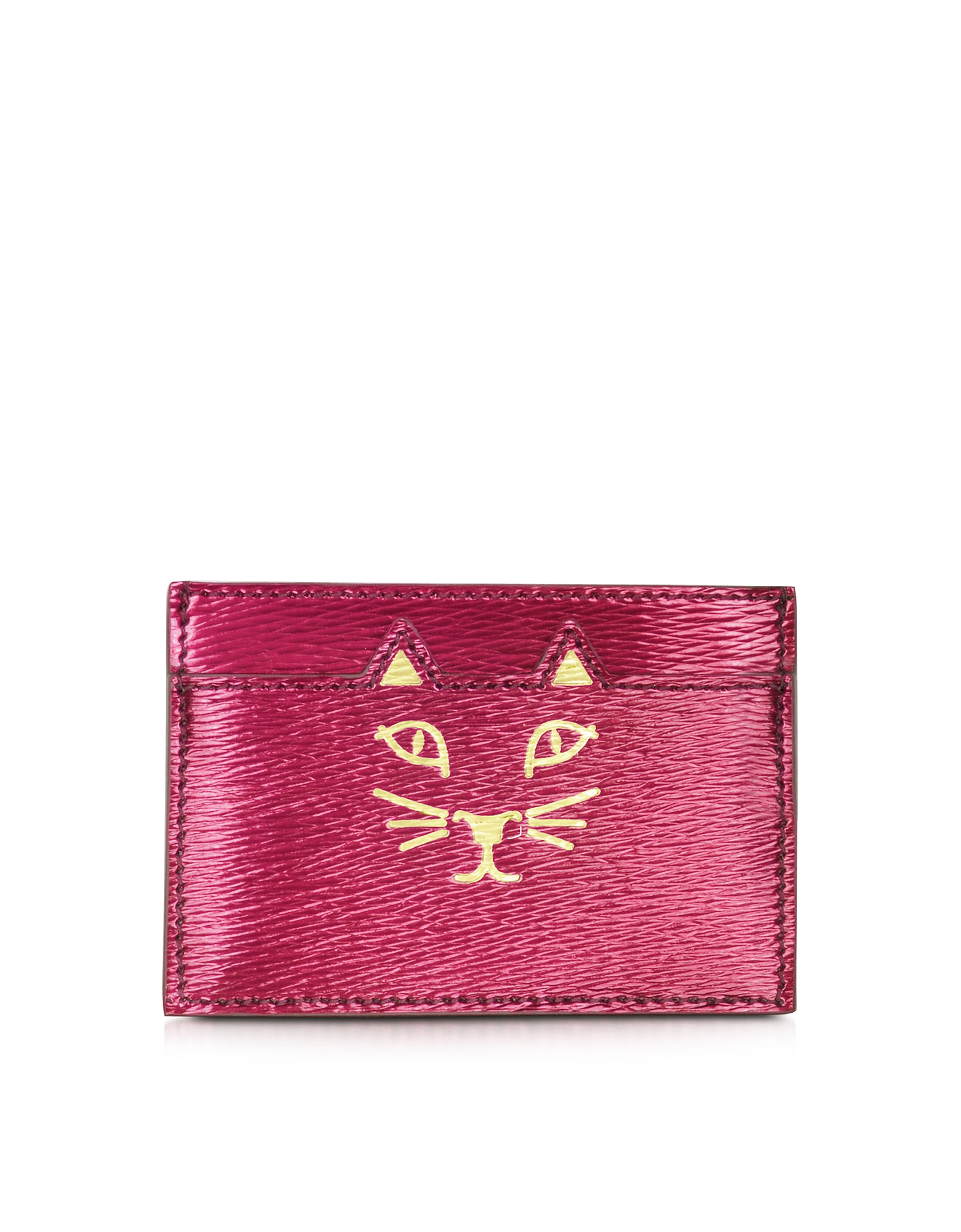 Feline - Бумажник для Карточек из Кожи Металлик Оттенка Фуксия