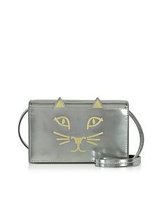 Feline - Pochette en Cuir Métallisé avec Logo Chat - Charlotte Olympia