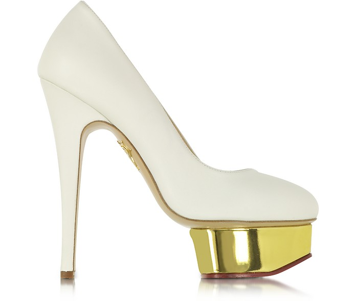 Dolly Off White Pump w/Gold Platform  - Charlotte Olympia