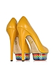 Dolly Maraca Yellow Leather w/Multicolor Platform Pump - Charlotte Olympia