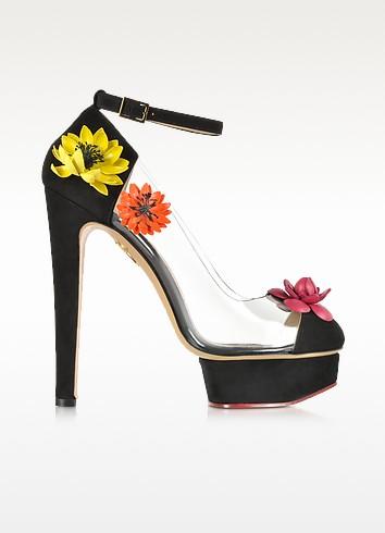 Flora Black Suede and Transparent PVC Platform Sandal - Charlotte Olympia