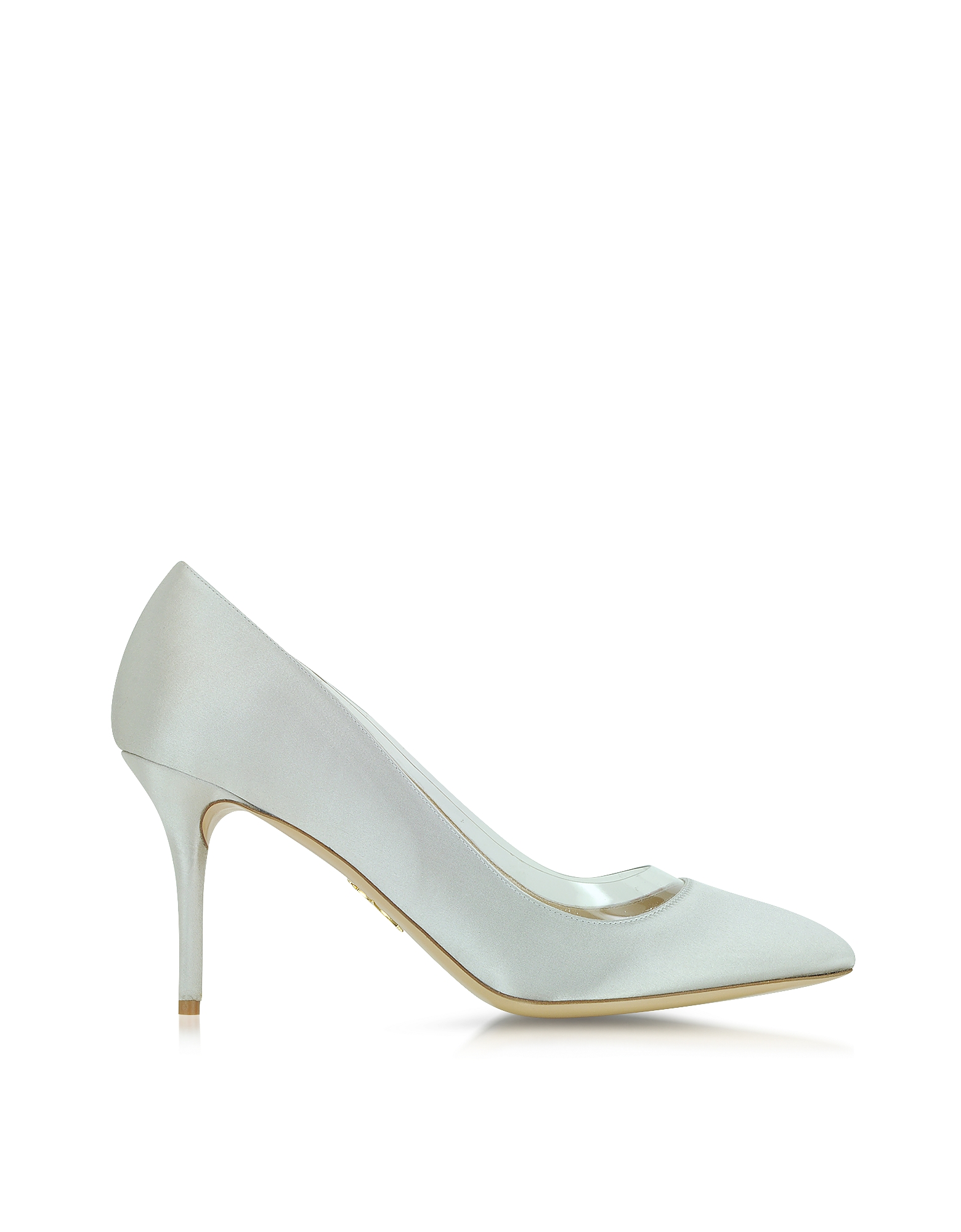 Charlotte Olympia Shoes, Party Shoes 85 Silver Satin Silk & PVC Pump