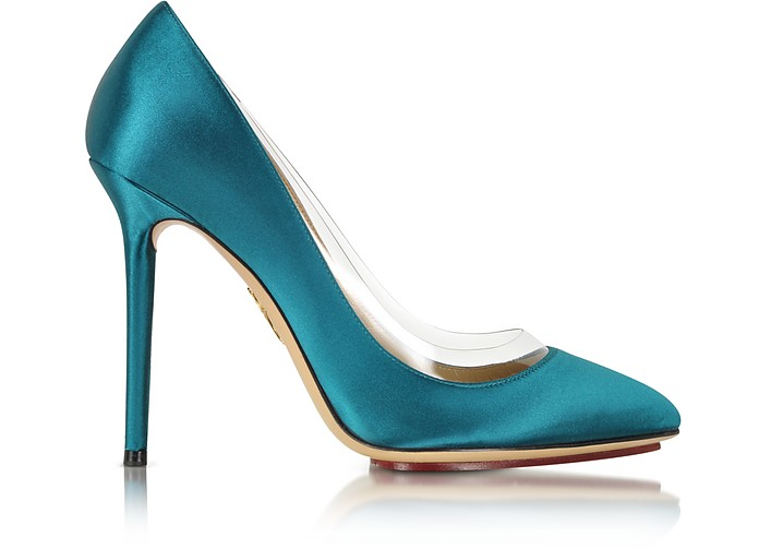 Party Shoes 110 Teal Blue Satin Silk & PVC Pump - Charlotte Olympia