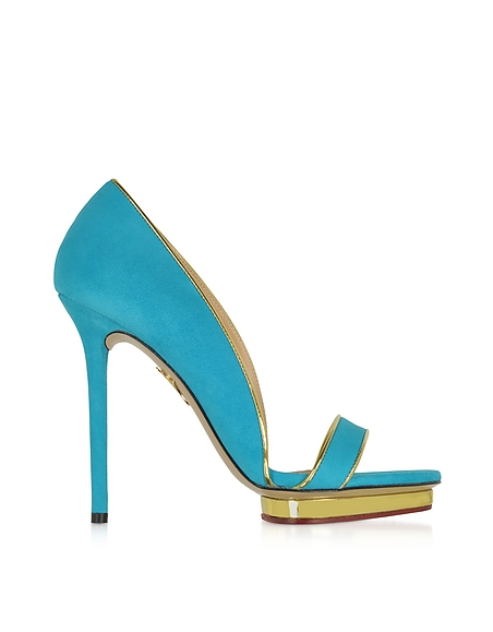 Foto Charlotte Olympia Christine Décolleté in Suede Blue Swimming Pool e Oro Scarpe