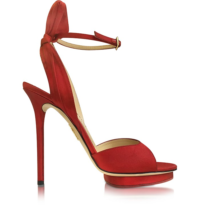 Wallace Red Silk Satin Platform Sandal - Charlotte Olympia