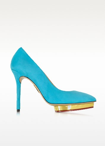 Debbie Swimming Pool Blue Suede Platform Pump - Charlotte Olympia