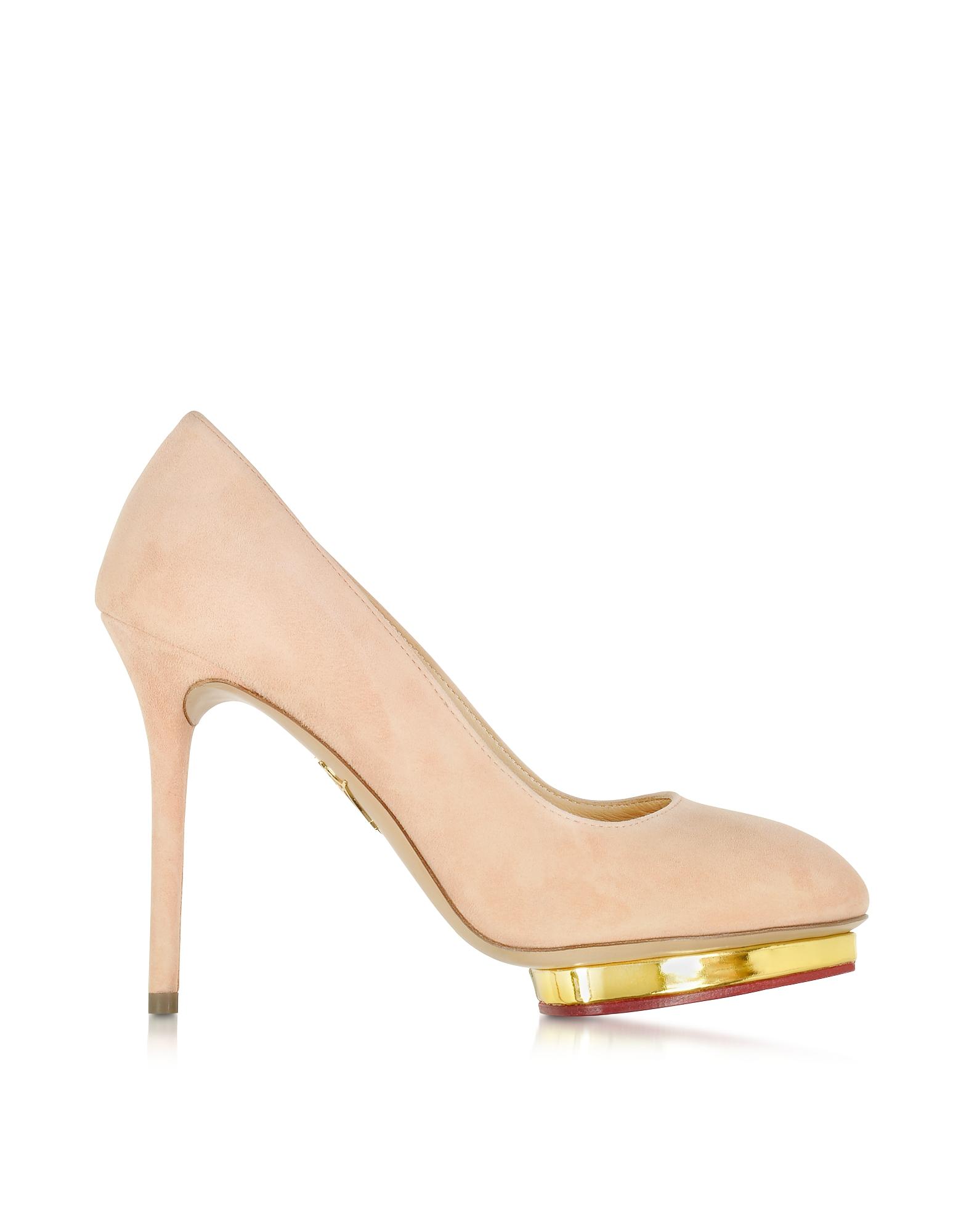 Dotty 110 - Светло-розовые Замшевые Туфли-Лодочки на Платформе