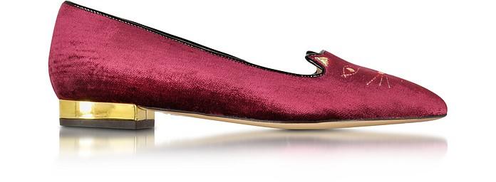 Mid-Century Kitty - Бордовые Бархатные Туфли с Острым Носком и Плоской Подошвой - Charlotte Olympia