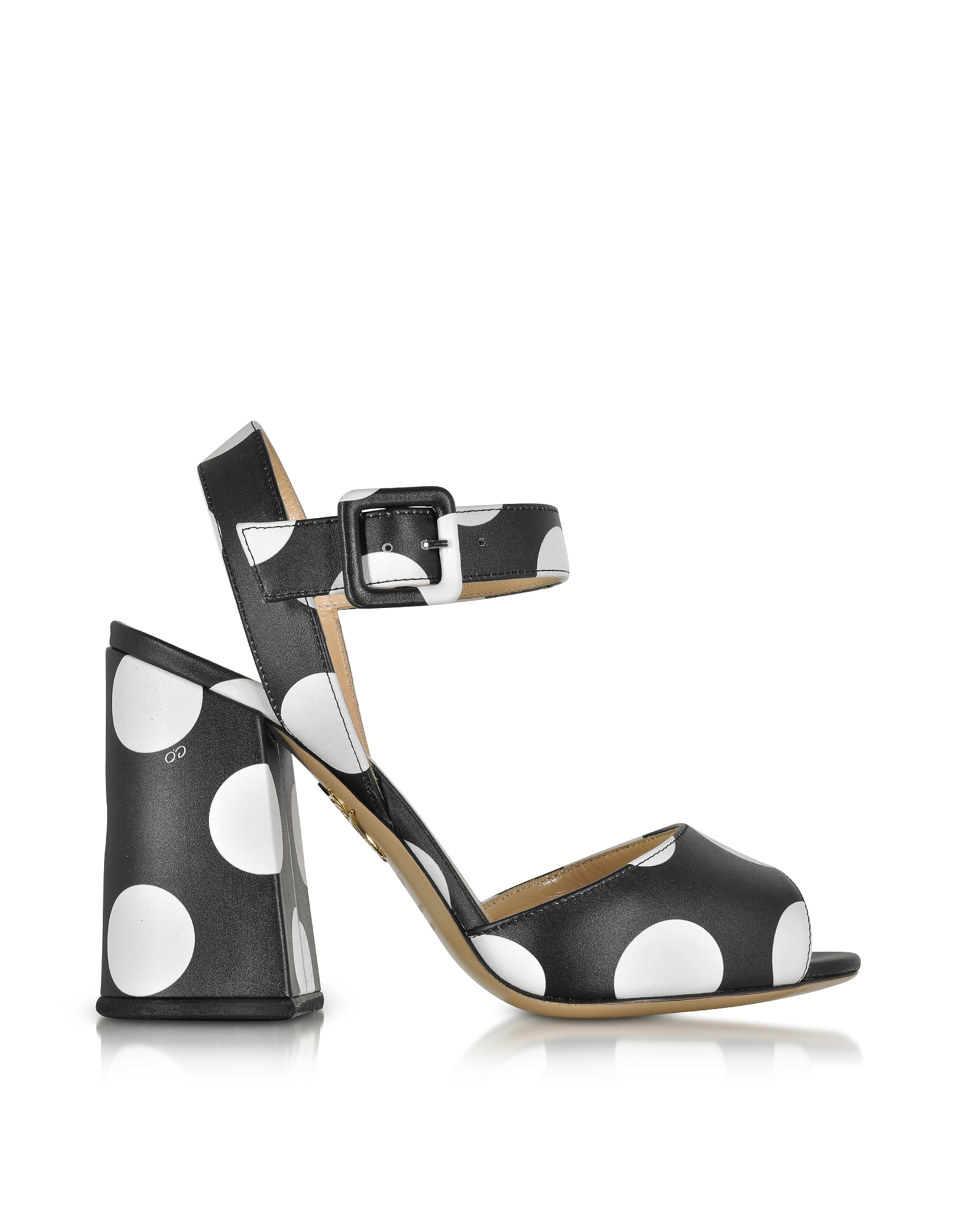 Charlotte Olympia Designer Shoes, Emma Black Polka Dot Print Leather Sandal
