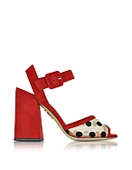Charlotte Olympia Emma Sandalo in Suede Rosso a Pois - charlotte olympia - it.forzieri.com