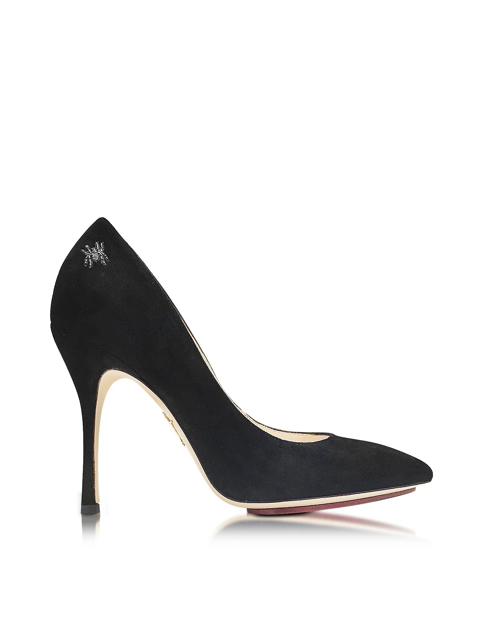 Bacall - Черные Замшевые Туфли-Лодочки