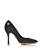 Charlotte Olympia Bacall Décolleté in Suede Nero con Logo Spider - charlotte olympia - it.forzieri.com