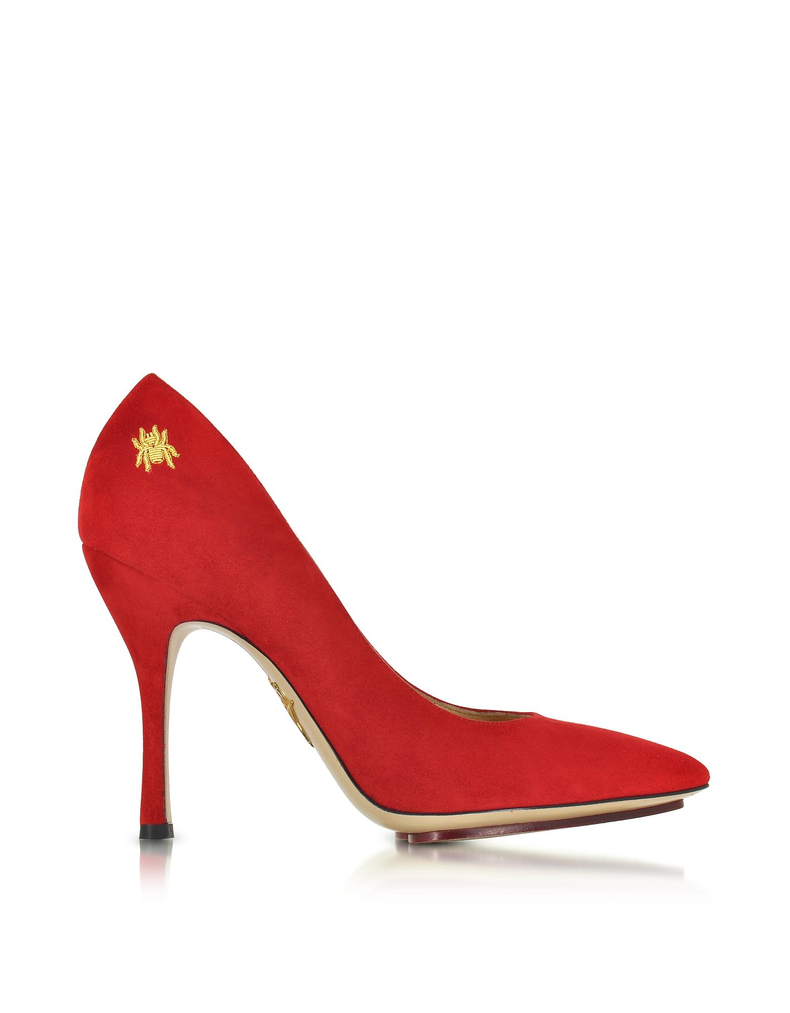 Bacall - Красные Замшевые Туфли-Лодочки