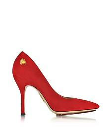 Bacall Red Suede Pump - Charlotte Olympia