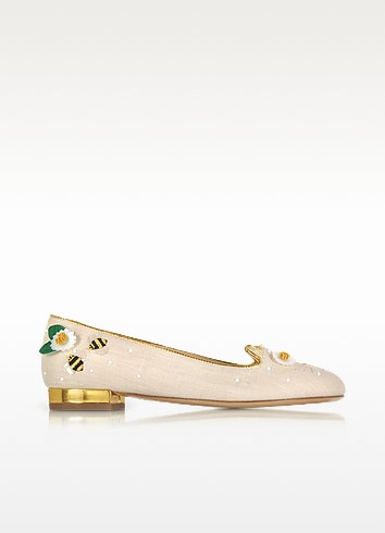 Floral Natural Linen Kitty Flats - Charlotte Olympia