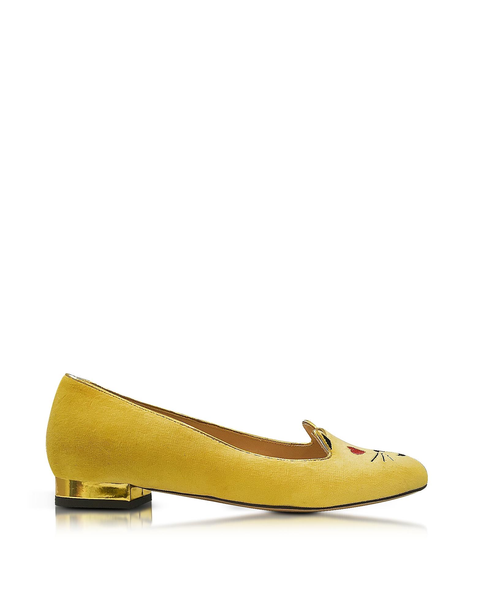 Emoticats Flirty Kitty - Желтые Бархатные Туфли на Плоской Подошве