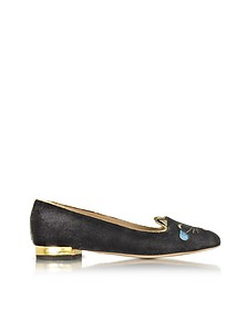 Emoticats Charcoal Velvet Lol Kitty Flats - Charlotte Olympia