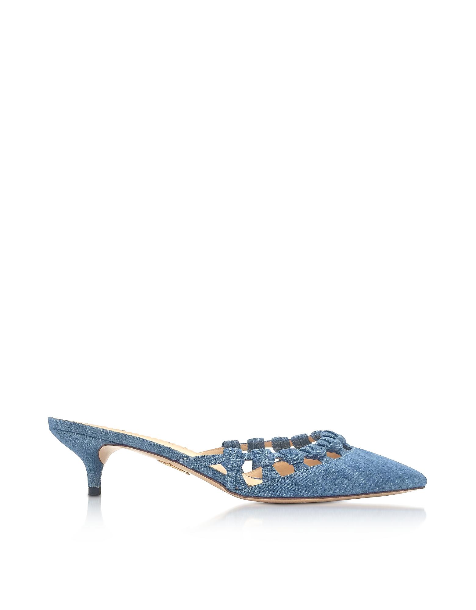 Charlotte Olympia Shoes, Patti Denim Mid-Heel Pointy Mule