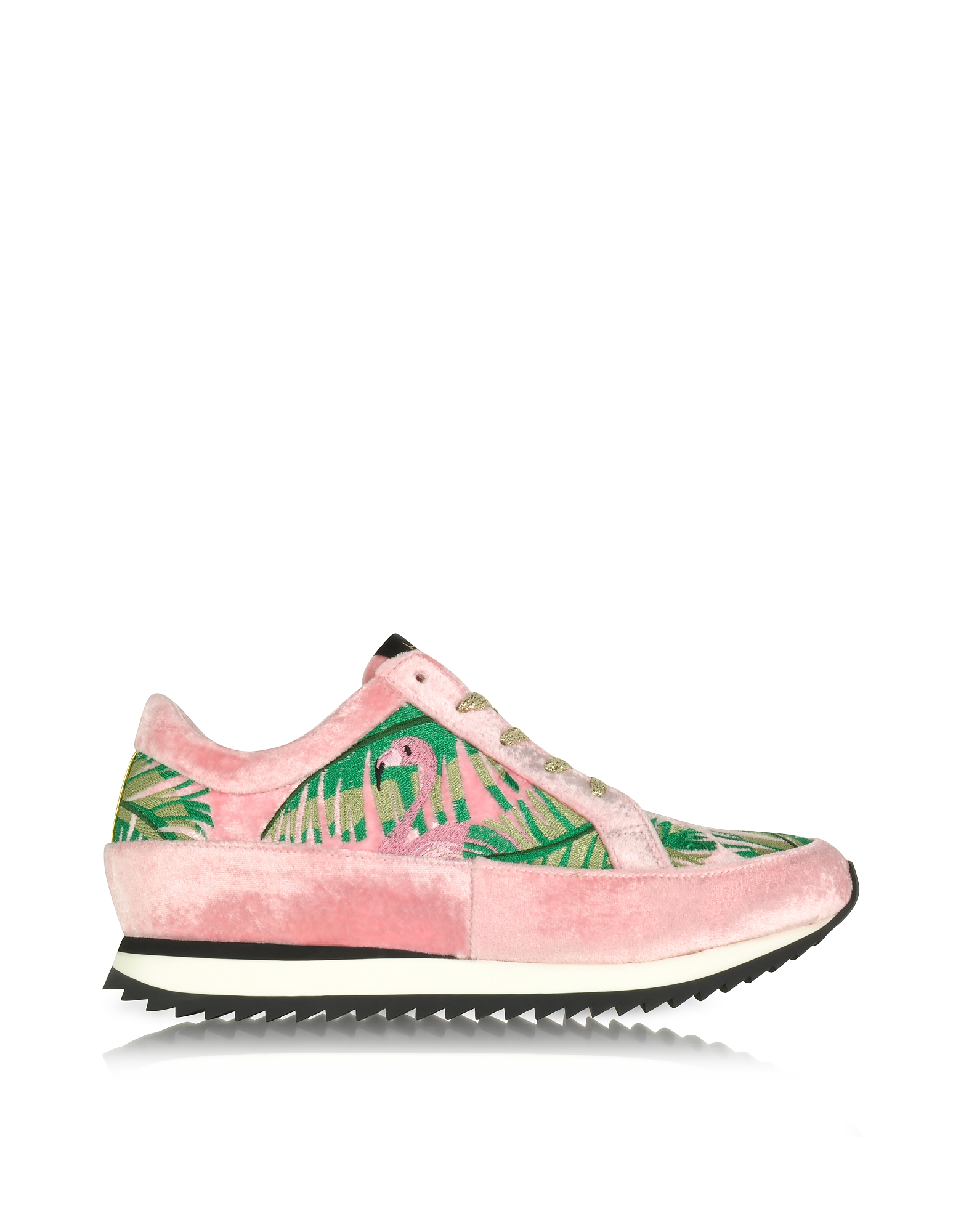 Charlotte Olympia Shoes, Work It Flamingo Pink Velvet Lace Up Sneakers