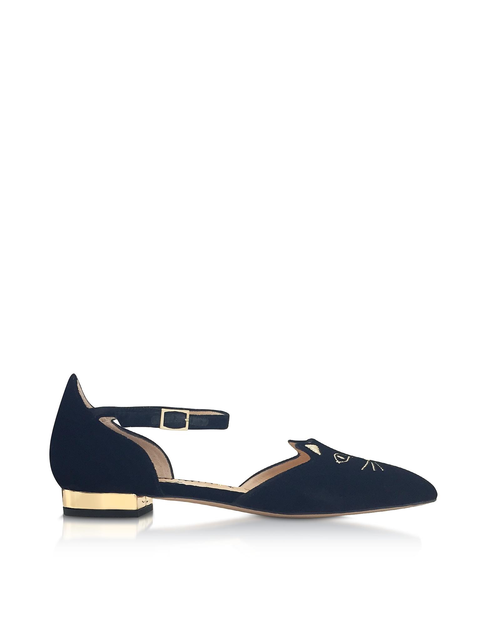 Charlotte Olympia Shoes, Black Velvet Mid-Century Kitty D'Orsay Flat Ballerinas
