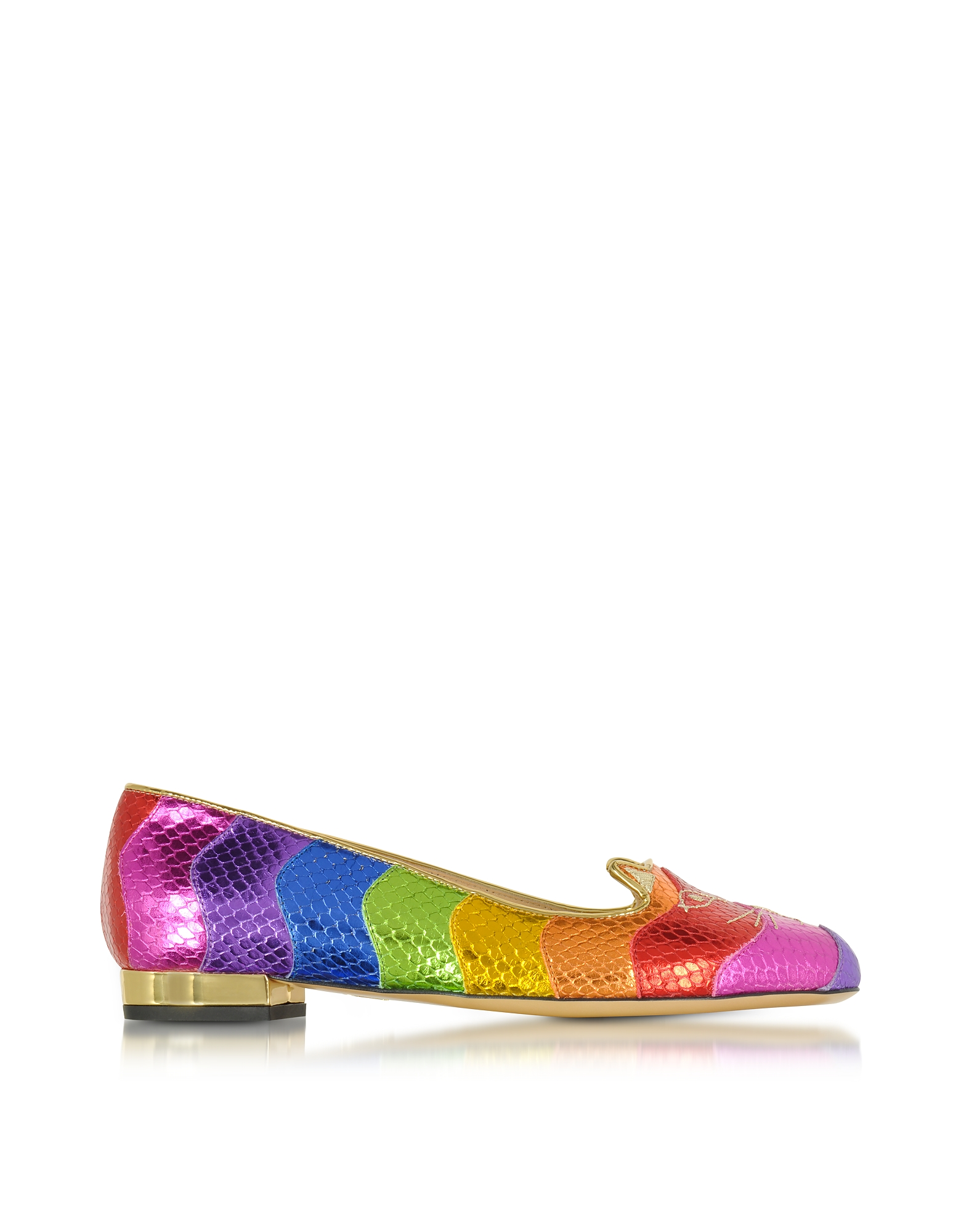 Charlotte Olympia Shoes, Snake Print Rainbow Kitty Flat Ballerinas