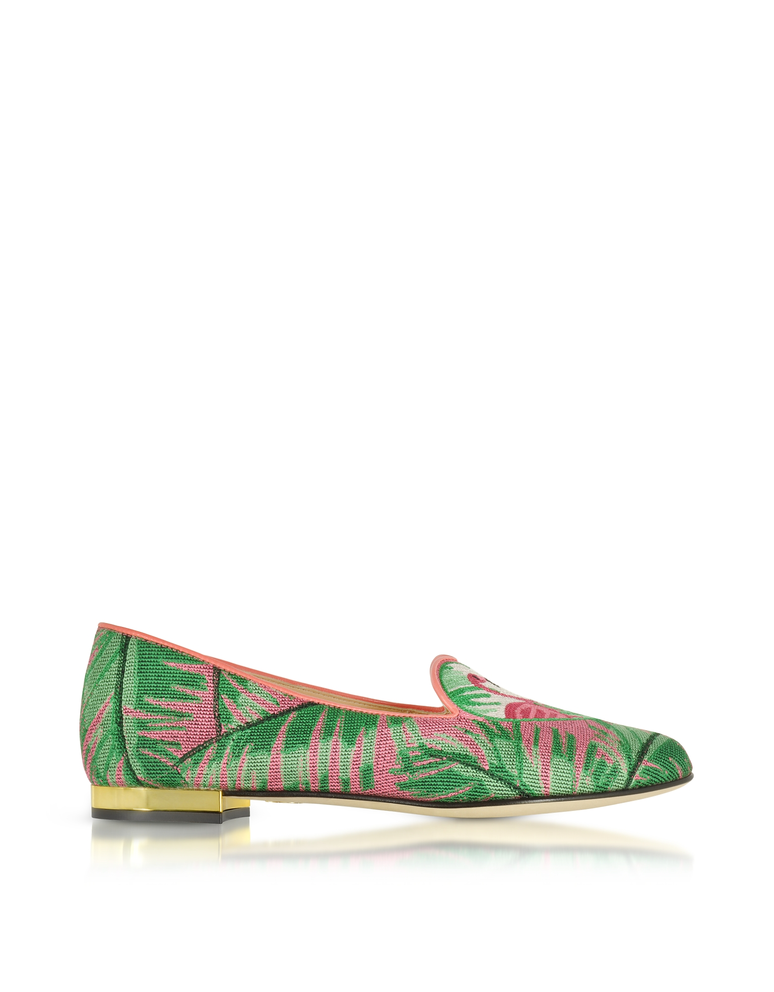Charlotte Olympia Shoes, Flamingo Embroidered Canvas Slippers W/Leather Trim