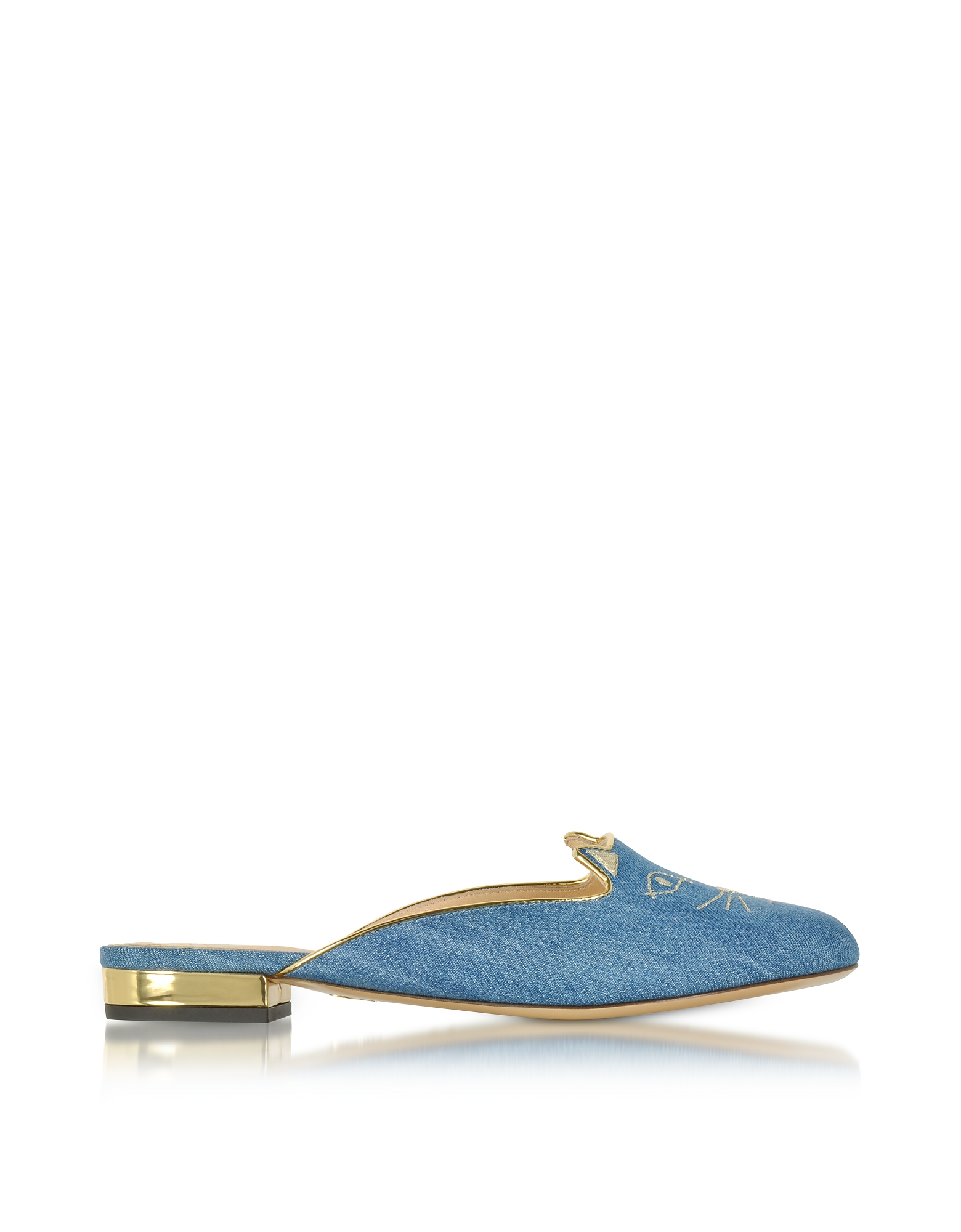 Charlotte Olympia Shoes, Light Denim & Gold Kitty Slippers
