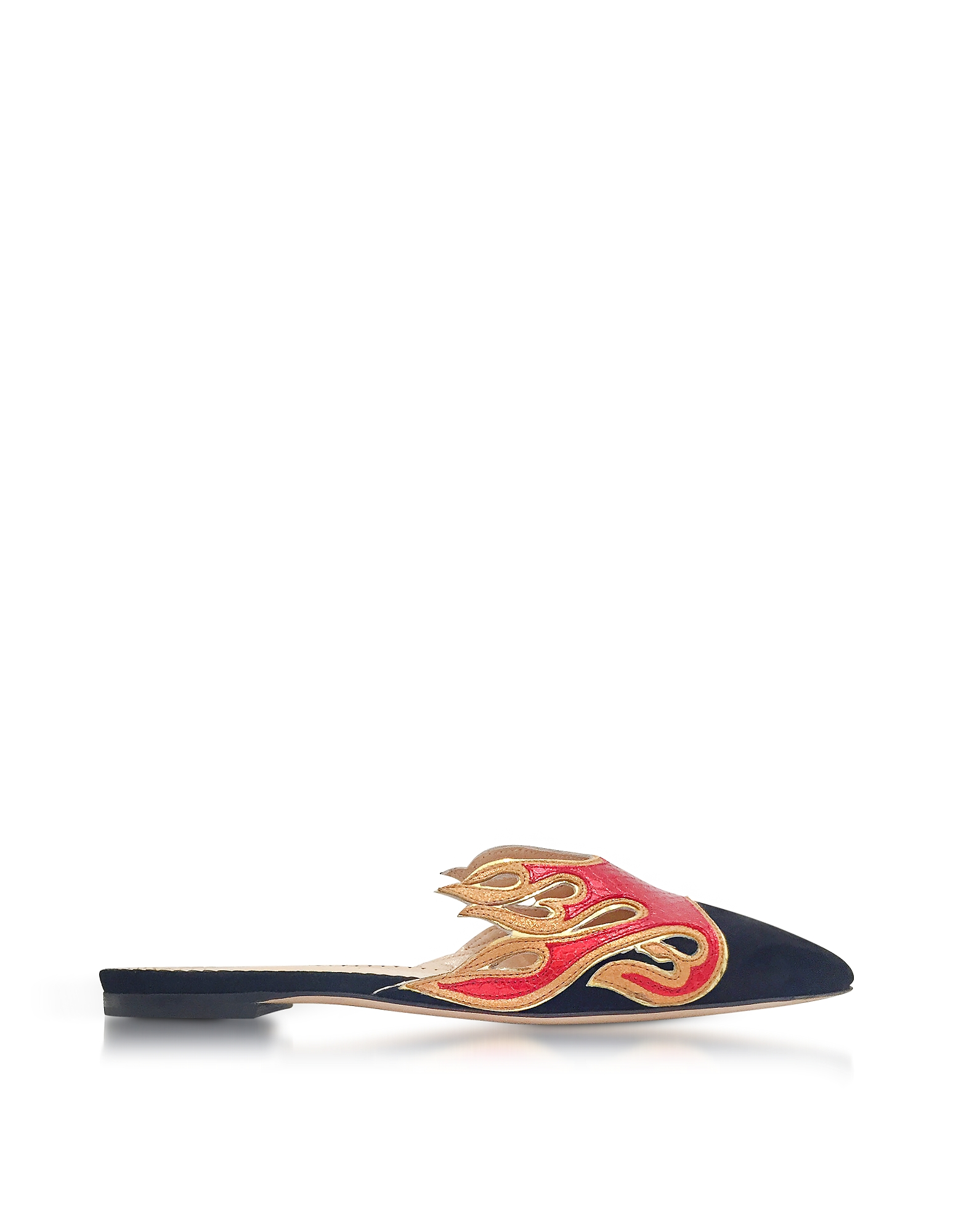 Charlotte Olympia Shoes, Black Suede and Red Snake-Printed Leather Flaming Slide Mules