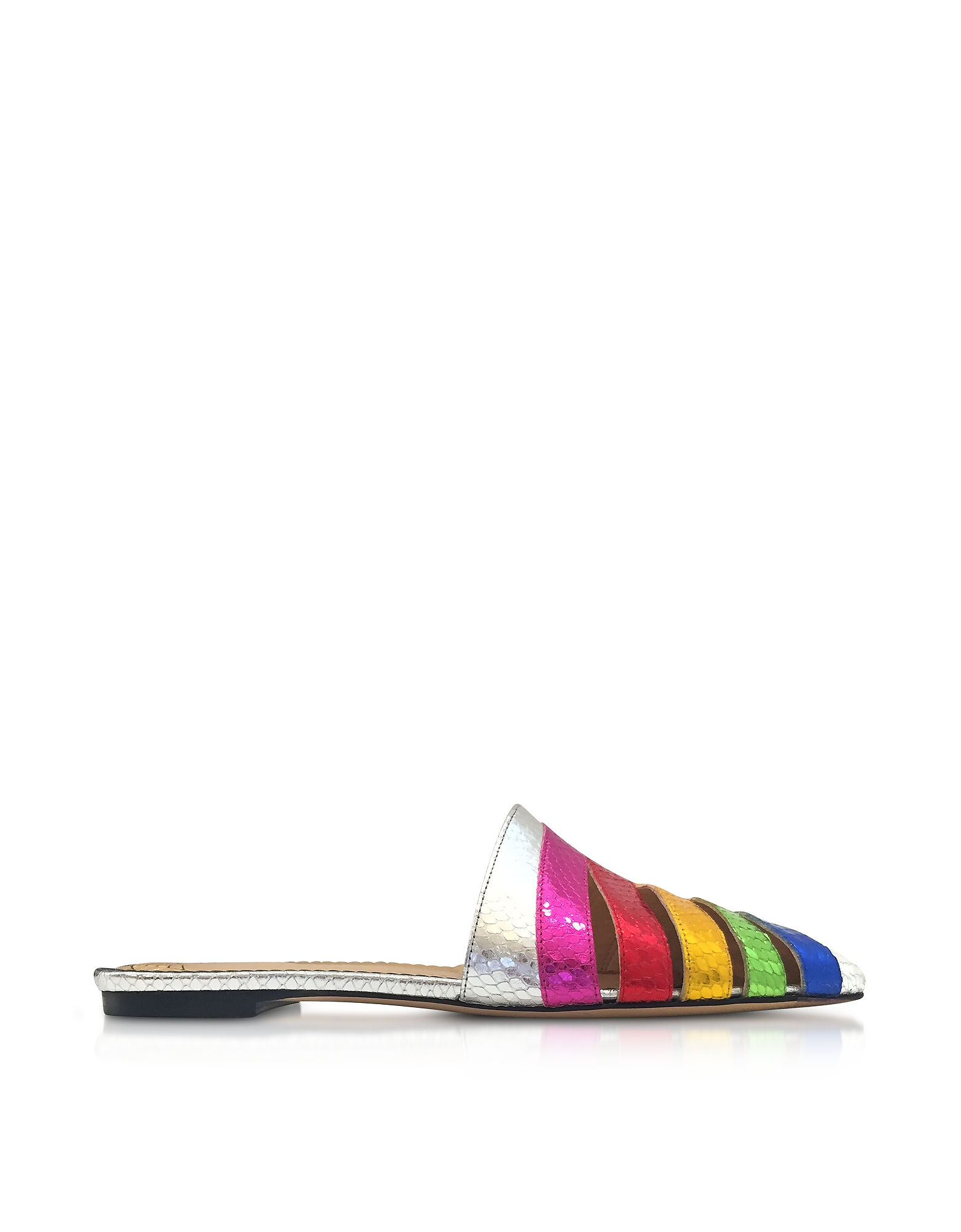 Charlotte Olympia Shoes, Metallic Snake-Print Leather Technicolor Slides
