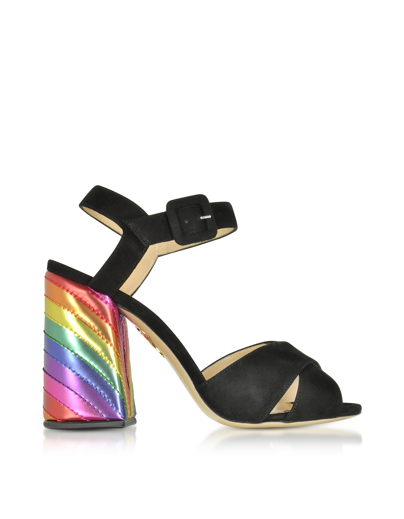 Charlotte Olympia Shoes, Emma Black Suede and Rainbow Patent Leather High Heel Sandals